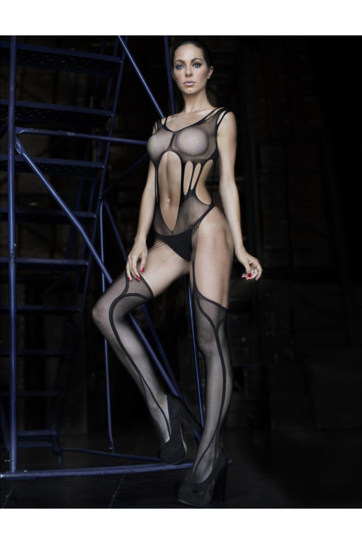 Seksi Tasarım Jartiyer Kesimli Vücut Çorabı