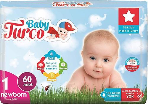 Baby Turco 1 Numara Yenidoğan Jumbo Paket 60'lı Bebek Bezi