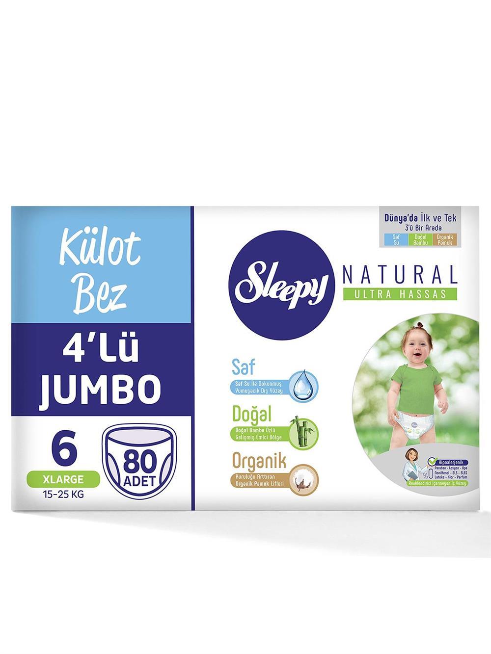 Sleepy Natural Külot Bez 4'lü Jumbo 6 Beden 80 Adet