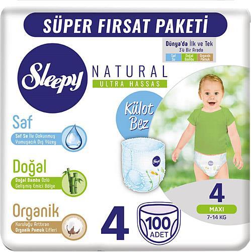 Sleepy Natural 4 Numara Maxi 100'lü Mega Paket Külot Bez
