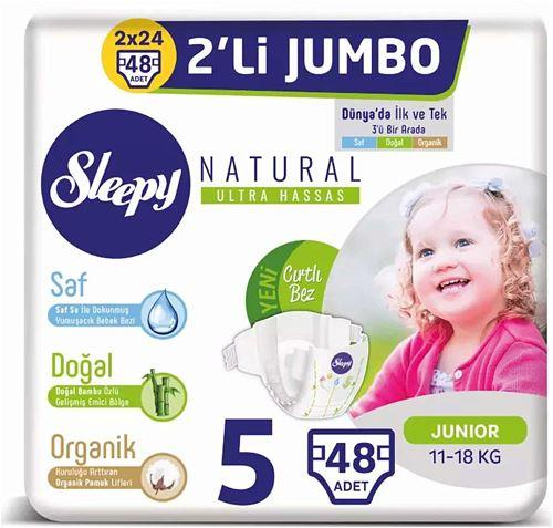 Sleepy Natural 5 Numara Junior 48'li Jumbo Paket Bebek Bezi