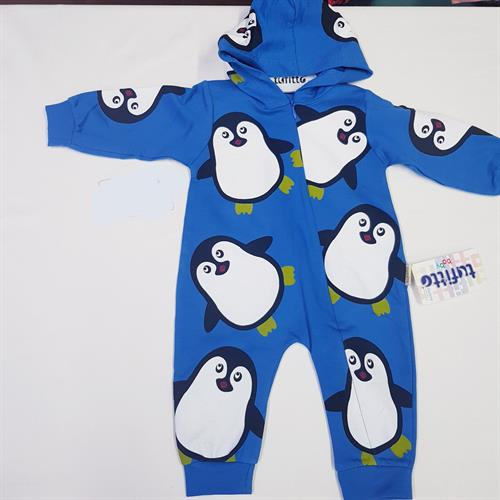 Tufitto Baby Unisex Bebek Kapüşonlu Penguenli Tulum Lacivert