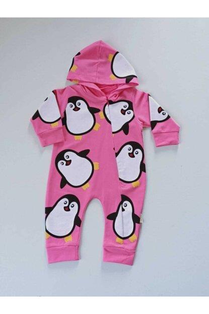 Tufitto Baby Bebek Kapüşonlu Penguenli Tulum Pembe