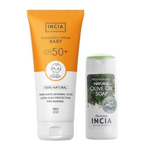 Incia Sun Screen Baby Cream SPF 50+ 70 ml Bebek Güneş Koruyucu Alana El ve Vücut Sabunu Bedava